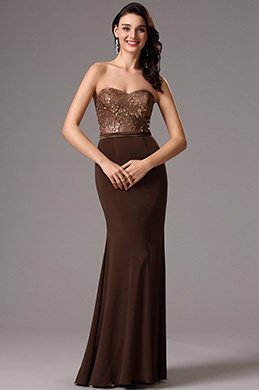 Strapless Sequin Bodice Coffee Bridesmaid Dress Evening Dress (07160220)