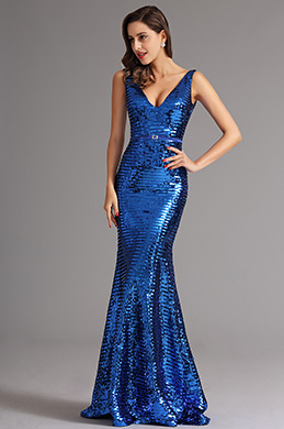 Sexy Plunging Neck Blue Sequin Evening Dress Formal Gown (X00161705-2)
