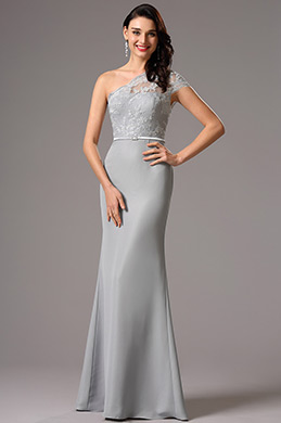 Lace One Shoulder Grey Evening Dress Formal Gown (00162708)