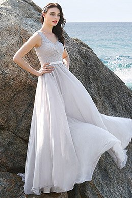 Elegant A Line Grey Evening Dress Prom Dress with Lace Shoulders (00160408)