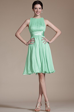 Robe de Cocktail Sans Manches Vert Simple (07156604)