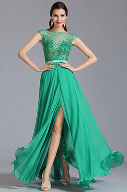 Capped Sleeves Green Embroidered Evening Dress Formal Dress (00153504)