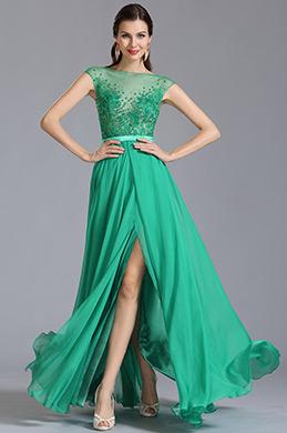 Robe de soirée longue verte fente sexy broderie ajourée (00153504)