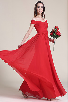 Off Shoulder Red Evening Dress Bridesmaid Dress (07151702)