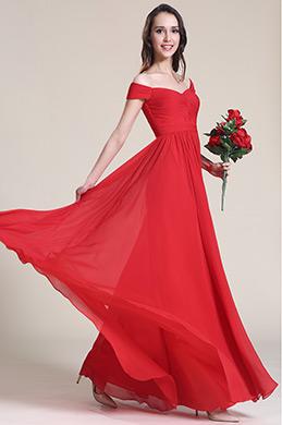 Robe demoiselle d'honneur rouge épaules dénudées (07151702)