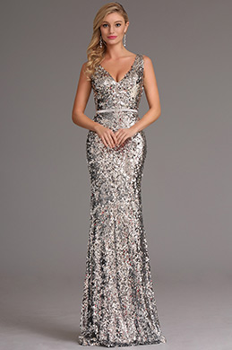 Plunging V Neck Sequin Silver Formal Dress Evening Dress (X00161726)