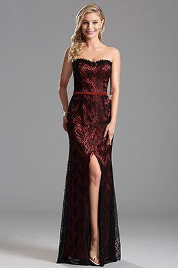 Elegant Overlace Burgundy High Slit Evening Dress Prom Dress (X07151217)