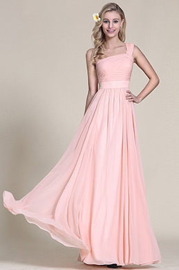 Elegant One Shoulder Pink Bridesmaid Dress Prom Dress (07152501)