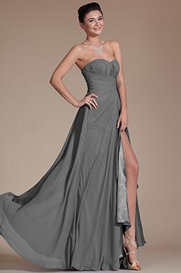Strapless Sweetheart Slit Grey Bridesmaid Dress (07156008)