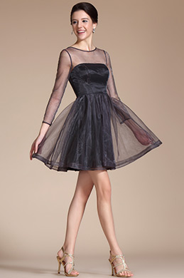 Black Round Neckline Sheer Top Cocktail Dress(C04141100)