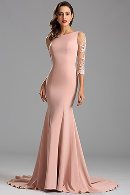 Elegant Half Sleeves Fitted Mermaid Formal Dress (26162346)
