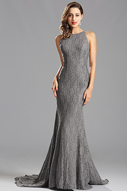 Elegant Grey Lace Evening Dress Prom Dress (X00155208)