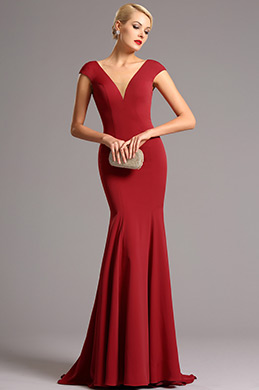 Capped Sleeves Plunging Neckline Red Formal Dress (00161202)