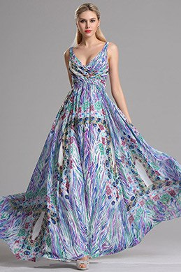 eDressit Two Straps V Neck Printed A Line Prom Evening Dress (X07151647)