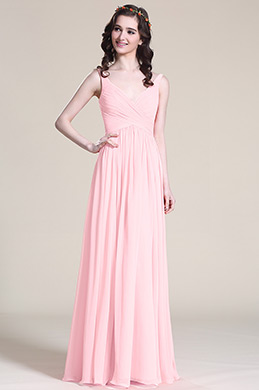 V Cut Pink Bridesmaid Dress Evening Dress (07151601)