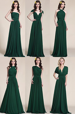 Convertible Dark Green Bridesmaid Dress Evening Gown (07154704)