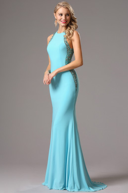 Sleeveless Light Blue Formal Gown with Beaded Detailed Back (36160932)