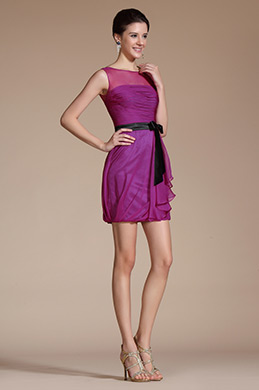 2014 New Hot Pink Sheer Top Cocktail Dress(C04140612)