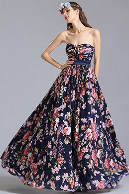 Strapless Sweetheart Summer Floral Dress Printed Dress (07151568)