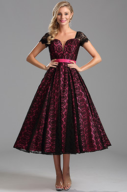 eDressit Robe de cocktail midi  manche court rose vif(X04145212)