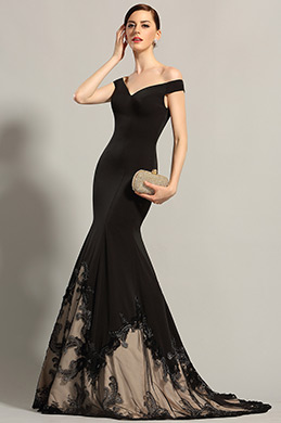 eDressit Off Shoulder V Neck Black Prom Dress Formal Gown (02153800)