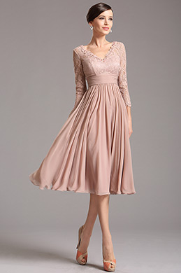 Rosy Brown Tea Length Cocktail Dress with Lace Sleeves (26160146)