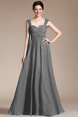 Grey Empire Waistline Bridesmaid Dress Evening Dress (07157008)