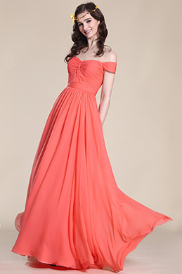 Elegant Off Shoulder Coral Bridesmaid Dress (07151757)