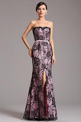 Robe de soirée longue bustier rose en dentelle noire (X07151201)