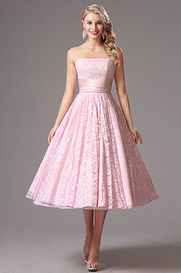 Sweet Pink Lace Cocktail Dress Party Dress Tea Length (X04145101)