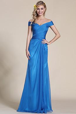 Auf Schulter Blau Brautjungfernkleid Formal Kleid (07153705)