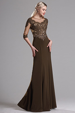 eDressit Brown Illusion Neckline Beaded Mother of the Bride Dress (36163720)