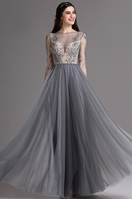 eDressit Grey Embroidery Illusion Neckline Beaded Pleated Formal Dress (02164808)