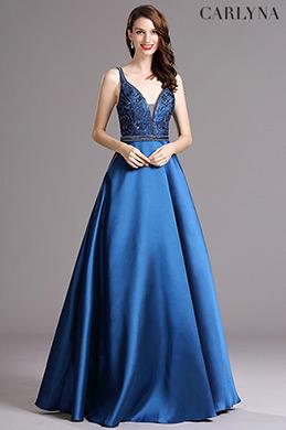 Carlyna Blau Piunging V-Ausschnitt lang offiziell Abendkleid (E60005)