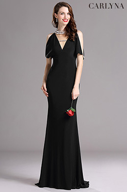Carlyna Black V Neck Beaded Mermaid Formal Evening Dress (E60700)