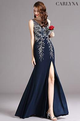 Carlyna V Neck High Slit Dark Blue Prom Evening Ball Dress (E60305)