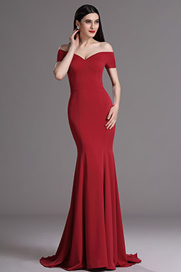 eDressit Burgundes Auf Schulter Mermaid Formal Abendkleid (00165217)