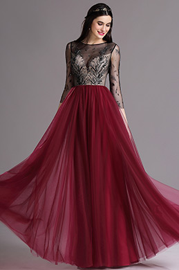 eDressit Burgundy Embroidery Illusion Neckline Beaded Prom Dress (02164817)