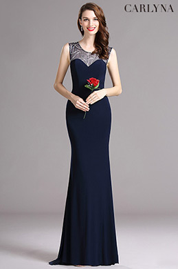 Carlyna Blue Sweetheart Beaded Sleeveless Prom Mermaid Dress (E60405)