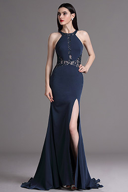 eDressit Dark Blue Halter Lace High Slit Ball Evening Dress (00165105)