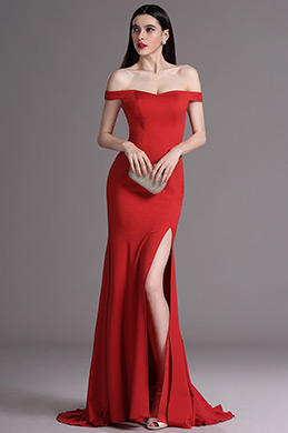 eDressit Red Off Shoulder High Slit Formal Evening Dress (00163502)