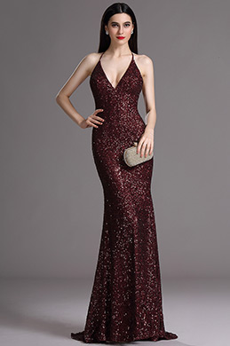 eDressit Spaghetti Halter V Neck Burgundy Sequins Prom Dress (00165417)