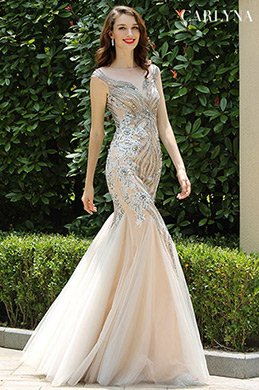 Carlyna Grau Beaded Ärmelloses Mermaid Ballkleid(E60808)
