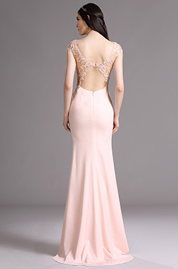 eDressit Pink Cap Sleeves Formal Gown with Lace Appliques (00164801)