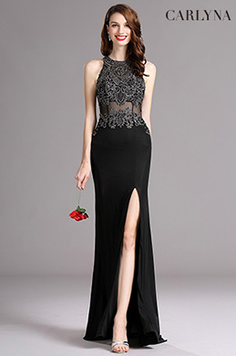 Carlyna Black Sleeveless Beaded Evening Gown With Slit Skirt E62400