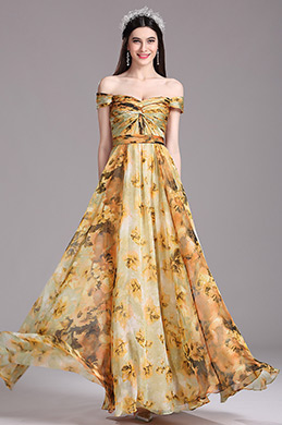 eDressit Tangerine Off Shoulder Pleated Summer Printed Dress (X07151710)