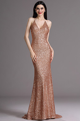 eDressit Spaghetti Halter Plunging Neck Sequins Formal Evening Dress (00165424)