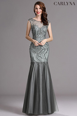 Carlyna Grey Sweetheart Beaded Sleeveless Formal Evening Dress (E60508)