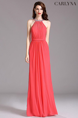 Carlyna Coral Beaded Halter Neck Ruched Bridesmaid Evening Dress (E60157)