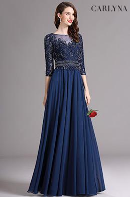 Carlyna Blau Illusion Kleid mit süß Schatz Ausschnitt(E61805)
